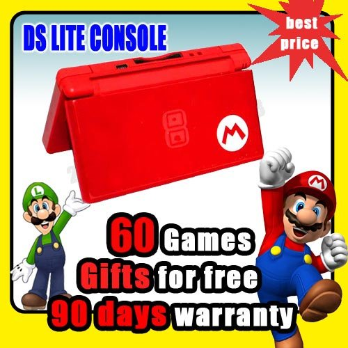 new red mario nintendo ds lite ndsl console 60 games. Black Bedroom Furniture Sets. Home Design Ideas