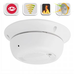 Real Working Smoke Detector with Hidden Camera Covert Video-Wired-