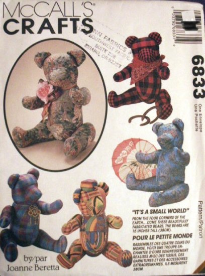 It's A Small World Bears Pattern M 6833 - FREE SHIPPING