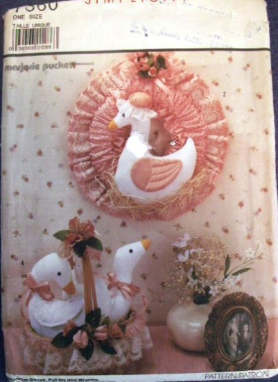 Decorative Geese, Pull Toy & Wreaths Pattern S 7360 -FREE SHIPPING