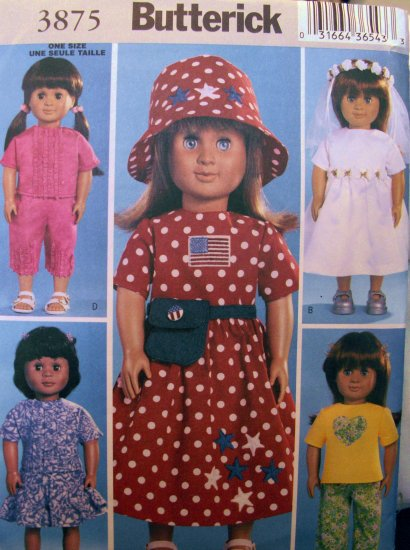 Doll Clothes Pattern  B 3875 - FREE SHIPPING