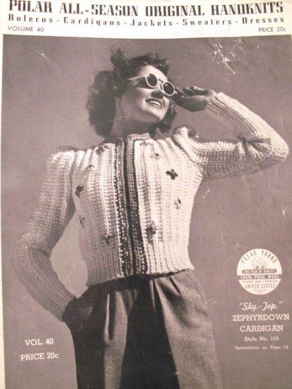 1939  Polar Handknit Pattern Book  Vintage  Boleros Cardigans