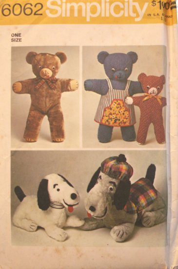 Bears & Dogs with Clothes Soft Toy Pattern  Vintage - FREE SHIPPING