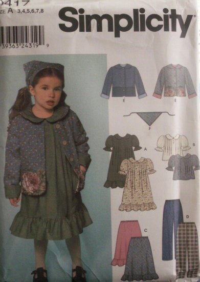 Girls Dress, Top, Jacket, Skirt, Pants & Scarf pattern - FREE SHIPPING