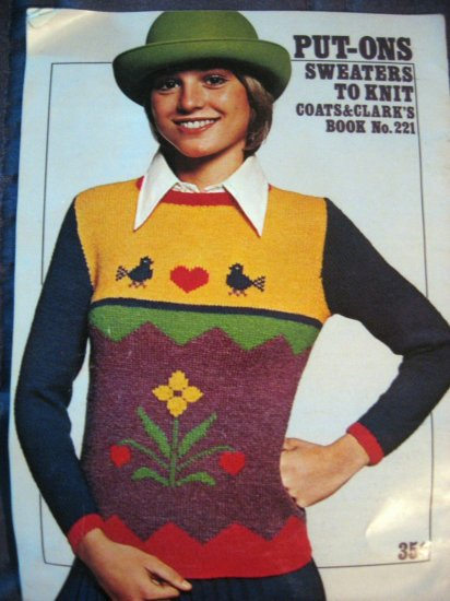 Coats & Clark No. 221  RARE & Unique Put-Ons Sweaters To Knit ALWAYS FREE SHIPPING