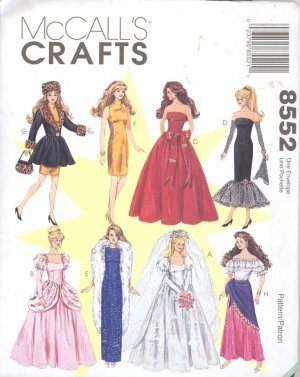 11.5 inch Fashion Doll Clothes Pattern M8552 Out Of Print - FREE SHIPPING