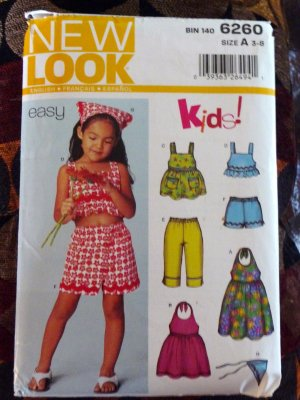 Girls Size 3-8 Summer Dress, Shorts, Top, Scarf Pattern - FREE SHIPPING