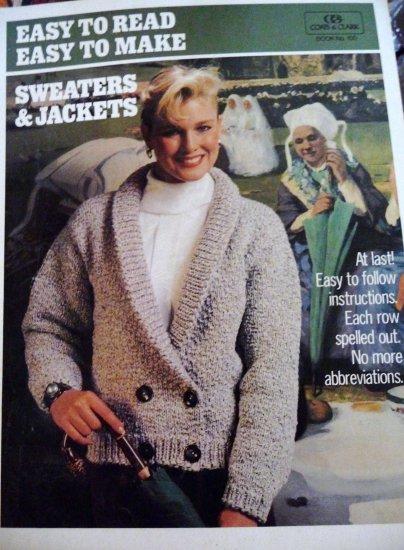 Coats & Clark Sweaters & Jackets No. 100 Knit & Crochet FREE SHIPPING