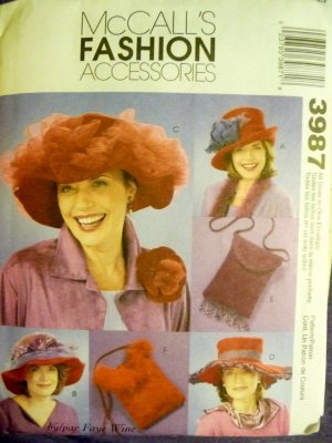 Red Hats Society Pattern Misses Hats & Purse Pattern M3987 - FREE SHIPPING