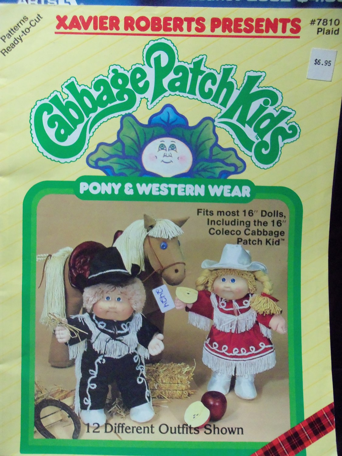 Vintage ~ Xavier Roberts Presents Cabbage Patch Kids Pony and Western Wear #7810 SEWING Pattern