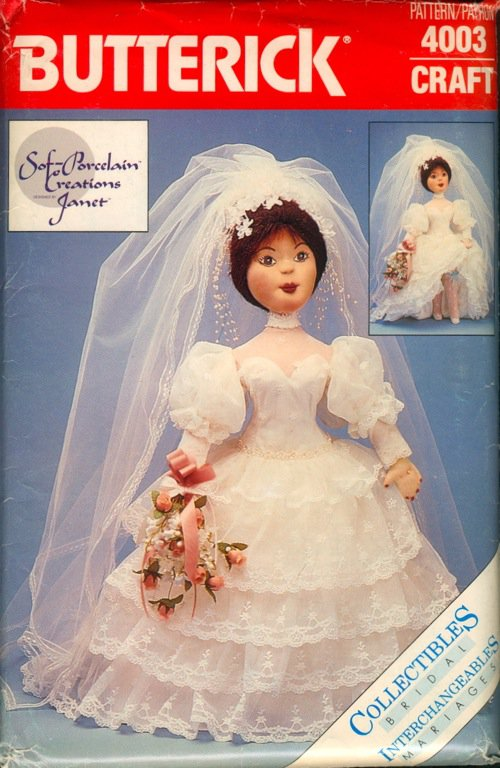Sof-Porcelain Creations Janet Bride Doll Pattern B 4003 - FREE SHIPPING