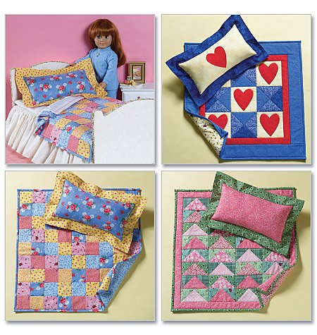 18 inch Doll Bed & Quilts Pattern B 4538 - FREE SHIPPING