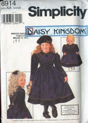 Daisy Kingdom Dress With Doll Dress Pattern S 8914 - FREE SHIPPING