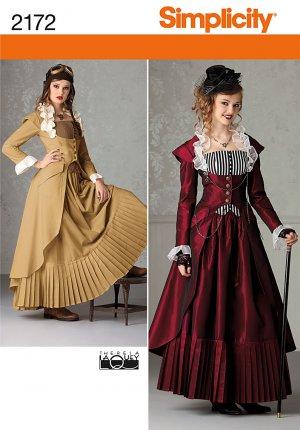 Steampunk Victorian Coat, Skirt, Bustier Pattern S 2172 - FREE Shipping