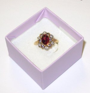 RING RHODOLITE GARNET IOLITE AND DIAMOND SET IN 10K YELLOW GOLD SIZE 7 NEW