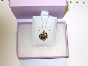 PEARL PENDANT 9MM TAHITIAN BLACK PEARL WITH DIAMOND ACCENT SET IN 14K YG WITH CHAIN NEW