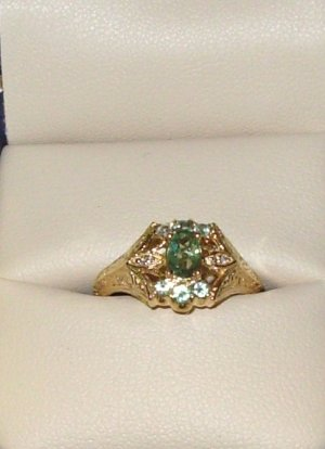 RING NATURAL ALEXANDRITE GENERATIONS 1912 DESIGN 14K YELLOW GOLD NEW SIZE 7