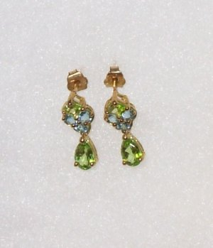 EARRINGS PERIDOT AND BLUE TOPAZ POST BACK SET IN 10K YELLOW GOLD NEW GENUINE FROM THE EARTH