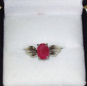 RING RUBY OVAL SET IN 10K WHITE GOLD NEW SIZE 7 NEW PIGEON BLOOD RED