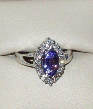 GEMSTONE RING TANZANITE AND DIAMONDS SET IN 14K WHITE GOLD SIZE 6 NEW ELEGANT STYLE