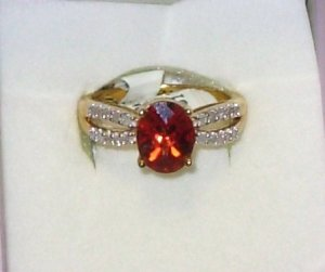 RING RED ANDESINE LABADORITE AND DIAMOND ACCENTS SET IN 10K YELLOW GOLD SIZE 7 NEW
