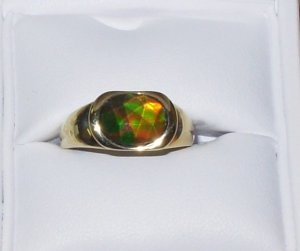 RING AMMOLITE 10X8MM OVAL SET IN 14K YELLOW GOLD NEW FROM KORITE