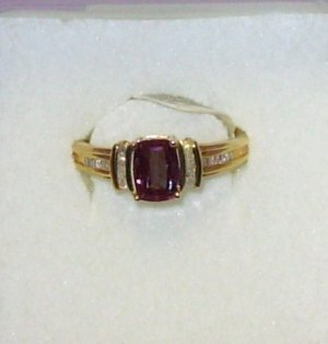 RING RUSSIAN LAB ALEXANDRITE CUSHION CUT DIAMOND ACCENTS SET IN 10K YELLOW GOLD NEW FROM KORITE