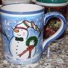CHRISTMAS COFFEE MUG PACIFIC RIM SNOWMAN SNOWFLAKES CERAMIC