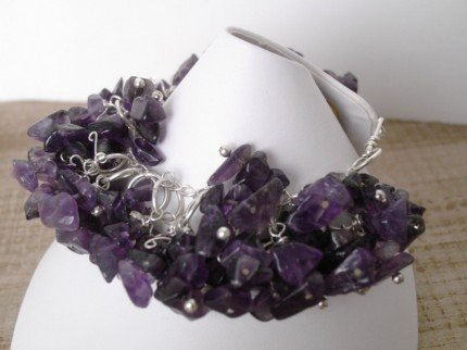 Amethyst chips bracelet