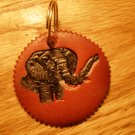 Red Leather Elephant Print Key Chain