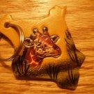 Giraffe print tan keychain
