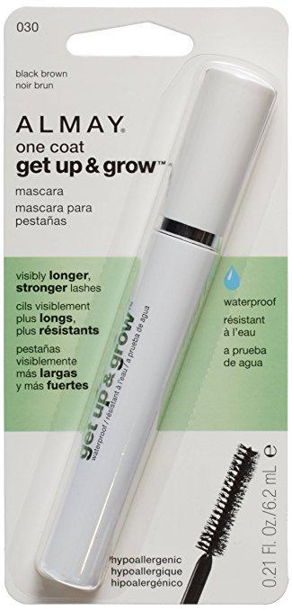 Almay One Coat Get Up and Grow Waterproof Mascara, 030 Black Brown, 0.21 Fluid Ounce