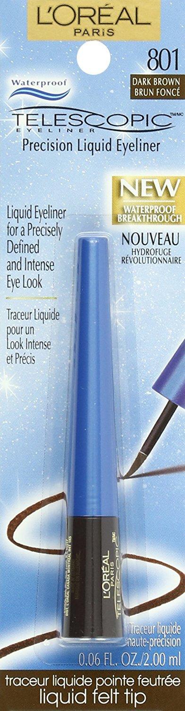 Loreal Paris Telescopic Waterproof Eyeliner Dark Brown 801, 0.06 Ounce