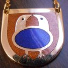Modernist de Passille Sylvestre 2 birds enamel necklace