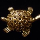 Austrian crystal turtle brooch costume jewelry