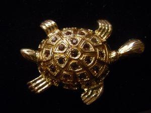 Austrian crystal turtle brooch costume jewelry