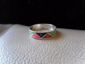 Vintage Silver Multicolored Zigzag Ring (size 7)
