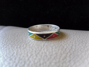 Vintage Silver Multicolored Zigzag Ring (size 8)