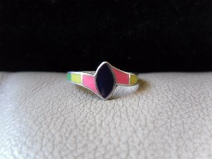 Vintage Silver Multicolored Oval Ring (size 8)