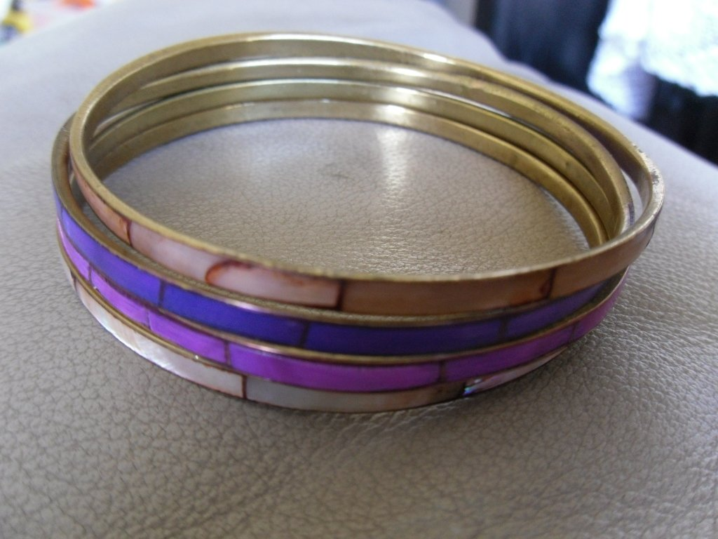 Vintage Violet, Fuchsia and Pink Metal and Enamel Bangles Set