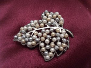 Large Leaf with Pearl Beads Brooch Costume Jewelry