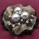 Three Black Pearl Nest Brooch Costume Jewelry