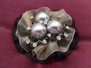 Three Black Pearl Nest Brooch Costume Jewelry