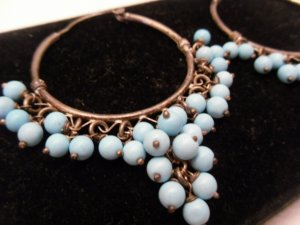 Vintage Silver and Turquoise Hoop Earrings