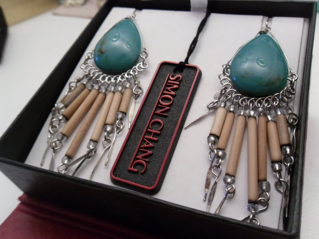 Simon Chang Turquoise and Wood Bead Earrings