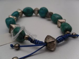 Genuine Turquoise Stone & Sterling Silver Bead Bracelet