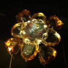 Vintage Square Amber Brooch Costume Jewelry