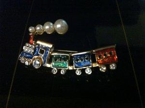 Pearl Train Brooch Costume Jewelry