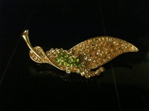 Gold Leaf Brooch Costume Jewelry