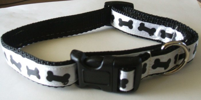 M: Black nylon collar with black bones on white background